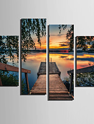 E-HOME® Stretched Canvas Art The Lake View Decoration Painting  Set of 4