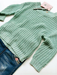 Girl's Casual/Daily Solid Sweater & Cardigan,Cotton Spring / Fall Green