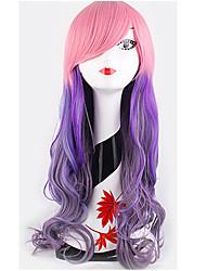 anime lolita recht rosa gemischt lila langen Körperwelle Perücken ausgezeichnete Qualität weibliche Parteiverein Mode Perücken