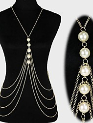 Body Jewelry/Belly Chain Body Chain Harness Necklace Imitation Pearl Bikini Tassels Sexy Crossover Fashion Gold 1pc