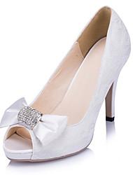 Women's Heels Spring Summer Fall Winter Lace Wedding Dress Party & Evening Stiletto Heel Rhinestone Bowknot Ivory White
