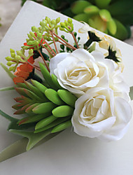 Wedding Flowers Hand-tied Roses / Peonies Wrist Corsages Wedding Beige Satin