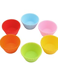 (Random color)12Pcs High Quality Round shape Silicone Muffin Cases Cake Cupcake Liner Baking Mold Bakeware