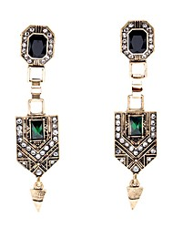 European Luxury Gem Geometric Earrrings Long Vintage Drop Earrings for Women Fashion Jewelry Best Gift