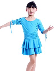 Latin Dance Dresses Children's Performance Milk Fiber Pleated 1 Piece Black / Blue / Fuchsia / Red