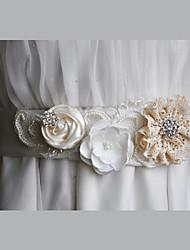 Satin / Chiffon / Alloy Wedding / Party/ Evening / Dailywear Sash-Floral / Rhinestone / Imitation Pearl Women's Floral