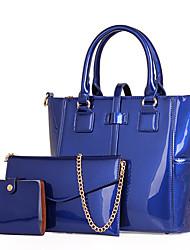 Femme Polyuréthane Formel / Décontracté / Bureau & Travail / Shopping Cabas / Ensembles de Sac Violet / Bleu / Rouge / Noir