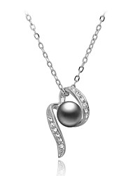 HKTC CZ diamond Gray Simulated Pearl Beads 18K White Gold Pated Necklaces & pendants Fashion Jewelry for Women