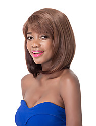 European Vogue Medium Sythetic Brown Straight Side Bang Party Wig For Women