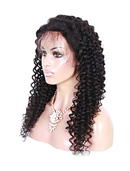 Long Curly Wig Natural Black Color  Human Virgin Hair Full Lace Wig with Baby Hair
