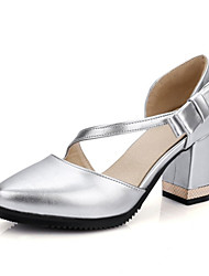 Women's Spring Summer Fall Leatherette Wedding Party & Evening Dress Casual Chunky Heel Pink White Silver
