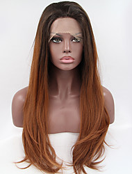 Fashion Long Straight Synthetic Lace Front Wig Glueless 1b/30 Color Wigs