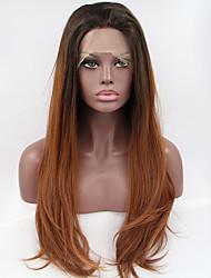 Femme Perruque Synthétique Lace Front Ondulation Naturelle Noir / Auburn Perruque Naturelle Perruque Halloween Perruque de carnaval