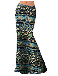 Women's Print Blue Skirts,Plus Size / Boho Maxi