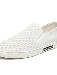 мужская обувь ткани вскользь мокасины / скольжению на случайные ходьбе плоский каблук другие черный / белый