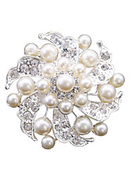 Cheap Fashion Pearl Rhinestone Flower Brooches for Women Weeding Brooch Pins