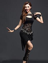 Dança do Ventre Vestidos Mulheres Actuação Renda Renda Franzido 2 Peças Manga Curta Natural Vestidos ShortsM:45-55 L:55-62.5 M:50 L:52