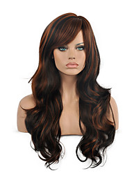 Top Quality Ombre Black Brown Color Wig Long Size Wavy Curly Hair Synthetic Wigs