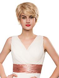 юношеские косой челкой женщина 's короткие волосы человеческие волосы рукой, привязанной - топ парики