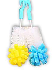 (Couleur aléatoire) 1pcs poignée brosses de nettoyage de la tête d'éponge pour bouteille de lait en verre / tasse usage de la famille de