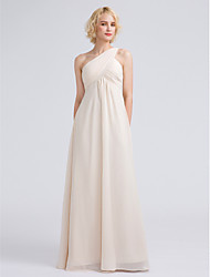 Floor-length Chiffon Bridesmaid Dress - Sheath / Column One Shoulder with Criss Cross / Ruching