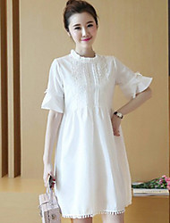 Round Neck Lace Maternity Dress,Cotton Above Knee ½ Length Sleeve