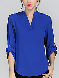 Women's Work Plus Size Simple Spring Summer Fall Blouse,Solid Color V Neck Long Sleeves Polyester Thin