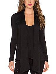 Women's Holiday Sexy / Boho Summer Blouse,Solid Cowl Long Sleeve Black Rayon Thin