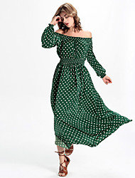 Women's Formal / Work Boho A Line Dress,Polka Dot Boat Neck Maxi Long Sleeve Green Polyester / Others All Seasons