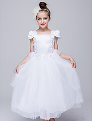 Ball Gown Ankle-length Flower Girl Dress-Satin / Tulle Short Sleeve