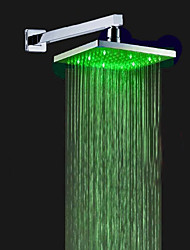 Contemporary Shower System LED Rainfall Showerhead with Ceramic Valve Single Handle One Hole for Chrome , Shower Faucet