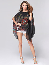 Women's Sexy Plus Size Casual / Beach / Holiday Floral Loose Chiffon T-shirt