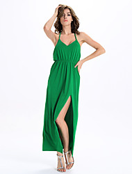 Women's Club Sexy A Line / Sweater Dress,Solid Strap Maxi Sleeveless Green Cotton / Polyester Summer