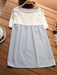 Maternity Round Neck Lace Shirt,Cotton Short Sleeve