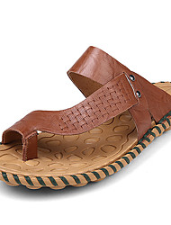 Men's Shoes Nappa Leather Outdoor/Casual Slippers & Flip-Flops Outdoor/Casual Sports Sandals Flat Heel Brown