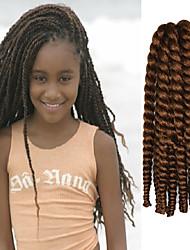"Light Brown 12"" Kid's Kanekalon Synthetic 2X Havana Mambo Twist 100g Hair Braids with Free Crochet Hook"