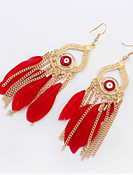 Stylish Atmosphere Chain Feather Tassel Earrings