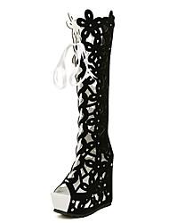 Damen-High Heels-Lässig-Vlies-KeilabsatzSchwarz Weiß