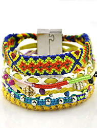Beautiful Rainbow Colorful Fabric Weave Magnet Buckle Friendship Wrap Layered Bracelet