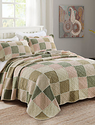 100% Cotton Plaid 3 pieces Quilted Bedspread set , 3 Color King Size