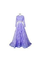 Formal Evening Dress A-line Jewel Court Train Lace / Tulle with Lace