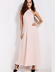 Women's Sexy / Simple Solid Sheath Dress,Halter Maxi Polyester