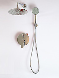 Contemporary Shower System Widespread with  Ceramic Valve Two Handles One Hole for  Chrome , Shower Faucet