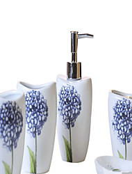 Blue Hydrangea pattern Bathroom Five piece suit+Box