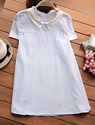 Mutterschaft Rüsche Hemd - Baumwolle Kurzarm Hemdkragen