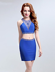 Cocktail Party Dress Sheath / Column Halter Short / Mini Chiffon with Beading / Crystal Detailing