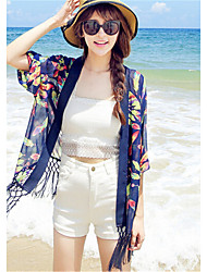 Women's Tassel Print Blue / White Jackets,Sexy Shirt Collar ¾ Sleeve