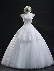 Ball Gown Wedding Dress Floor-length Scoop Organza / Tulle with Ruffle / Appliques / Beading