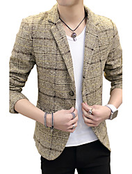 Men's Long Sleeve Regular Blazer,Cotton / Acrylic Plaids 916213