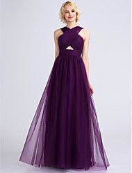 Lanting Bride® Floor-length Tulle Bridesmaid Dress A-line V-neck with Criss Cross